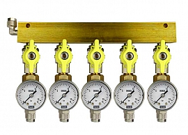 Manifold 5 pipes, shut-off valves, gauge till 16bar, QU8/6