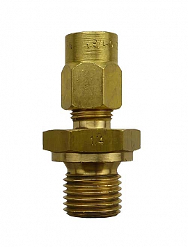 Straight Union KV6 - G1/4' G1/4'male with Flange, Brass