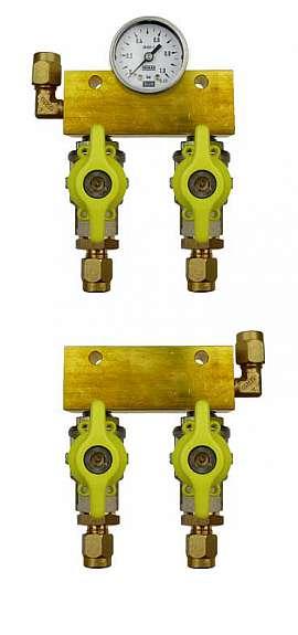 Manifold 2 tanks, pair pre./meas., manometer 1bar, CF8/6