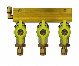 Manifold 3 pipes, shut-off valves, CF6/4