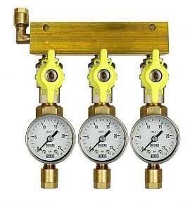 Manifold 3 pipes, shut-off valves, gauge till 25bar, CF8/6