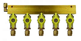 Manifold 5 pipes, shut-off valves, CF6/4