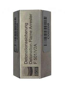 Detonation Flame Arrester F 501, Stainl. Steel, 1/2'I-3/8'I, PTB 02 ATEX 4012 X