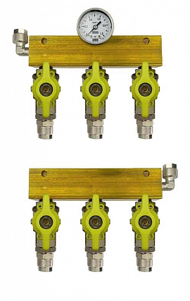 Manifold 3 tanks, pair pre./meas., manometer 1bar, QU8/6