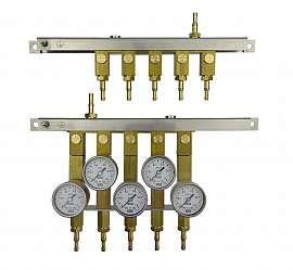 Manifold for 5 tanks, gauge 1bar / exit H4+H6