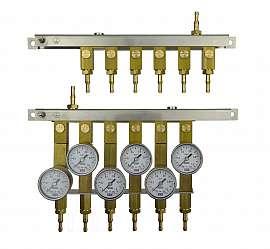 Manifold for 6 tanks, gauge 1bar / exit H4+H6