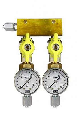 Manifold 2 pipes, shut-off valves, gauge till 16bar, FU6/4