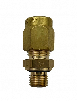 Straight Union KV8 - G1/8', brass G1/8'male with Flange, metric version
