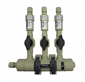 Manifold ext. 3 pipes, shut-off valves, PP8/6