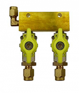 Manifold 2 pipes, shut-off valves, CF8/6