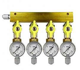 Manifold 4 pipes, shut-off valves, gauge till 16bar, FU6/4