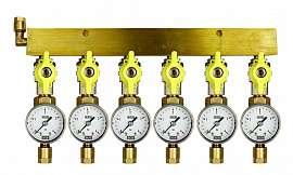 Manifold 6 pipes, shut-off valves, gauge till 4bar, CF8/6