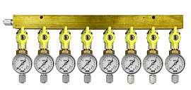 Manifold 8 pipes, shut-off valves, gauge till 16bar, FU6/4