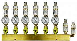Manifold 6 pipes, shut-off valves, gauge -1 to 0bar, QU8/6