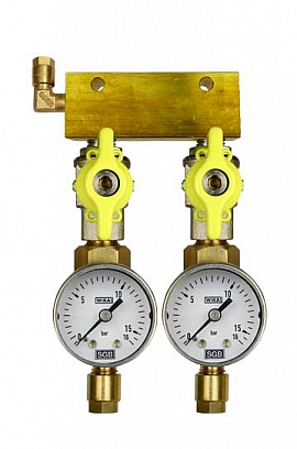 Manifold 2 pipes, shut-off valves, gauge till 16bar, CF6/4