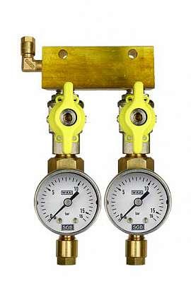 Manifold 2 pipes, shut-off valves, gauge till 16bar, CF6/4