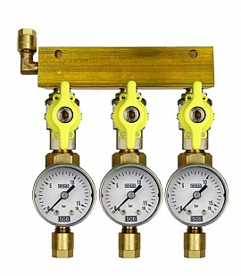 Manifold 3 pipes, shut-off valves, gauge till 16bar, CF8/6