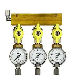Manifold 3 pipes, shut-off valves, gauge till 4bar, ss-CF6/4