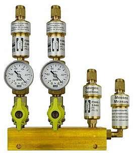 Manifold 2 pipes, shut-off valves, gauge -1 to 0bar, CF8/6