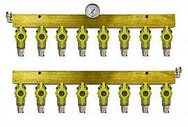 Manifold 8 tanks, pair pre./meas., manometer 1bar, QU8/6