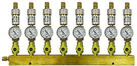 Manifold 8 pipes underpressure, brass, S, valves, mano -1 - 0 bar, CF8/6
