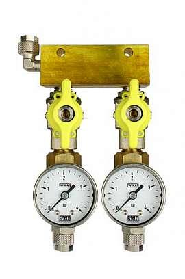 Manifold 2 pipes, shut-off valves, gauge till 4bar, QU8/6