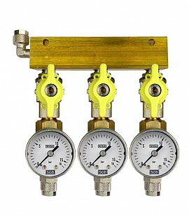 Manifold 3 pipes, shut-off valves, gauge till 16bar, QU8/6