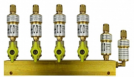 Manifold 4 pipes, shut-off valves, CF8/6