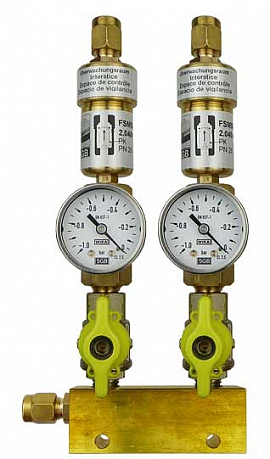 Manifold ext. 2 pipes, shut-off valves, gauge -1 to 0bar, CF8/6