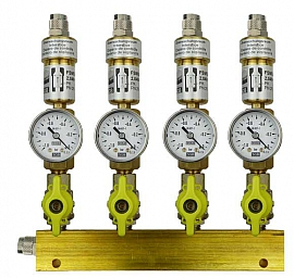 Manifold ext. 4 pipes, shut-off valves, gauge -1 to 0bar, QU8/6