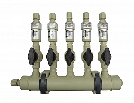 Manifold ext. 5 pipes, shut-off valves, PP8/6
