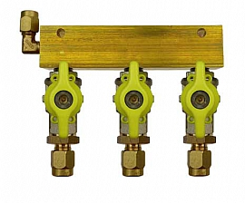 Manifold 3 pipes, shut-off valves, CF8/6