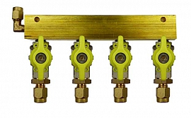 Manifold 4 pipes, shut-off valves, CF8/6