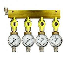 Manifold 4 pipes, shut-off valves, gauge till 4bar, QU8/6