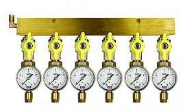Manifold 6 pipes, shut-off valves, gauge till 4bar, CF6/4