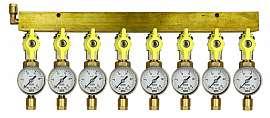 Manifold 8 pipes, shut-off valves, gauge till 25bar, CF8/6