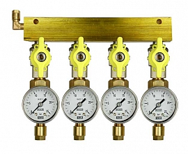 Manifold 4 pipes, shut-off valves, gauge till 25bar, CF6/4