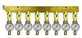 Manifold 8 pipes, shut-off valves, gauge till 16bar, CF6/4