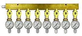 Manifold 8 pipes, shut-off valves, gauge till 25bar, FU6/4