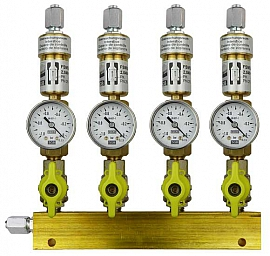 Manifold ext. 4 pipes, shut-off valves, gauge -1 to 0bar, FU6/4