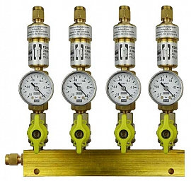 Manifold ext. 4 pipes, shut-off valves, gauge -1 to 0bar, CF8/6