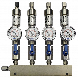 SS-manifold ext. 4 pipes, shut-off valves, gauge -1 to 0bar, ss-CF8/6
