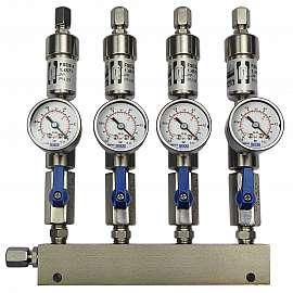 Manifold 4 pipes underpressure, ss, S, valves, mano -1 - 0 bar, ss-CF8/6