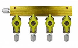 Manifold 4 pipes, shut-off valves, FU6/4