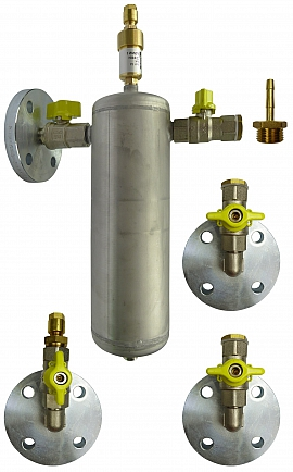 Installation Kit Flat Bottom Tank, MS VL255, Flange DN 25 - KV 8, Brass