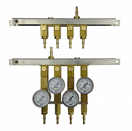 Manifold for 4 tanks, gauge 1bar / exit H4+H6