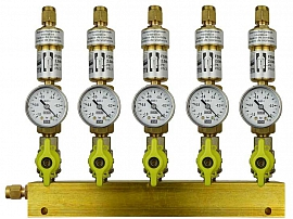 Manifold ext. 5 pipes, shut-off valves, gauge -1 to 0bar, CF8/6