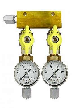 Manifold 2 pipes, shut-off valves, gauge till 25bar, FU6/4
