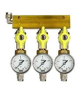 Manifold 3 pipes, shut-off valves, gauge till 4bar, QU8/6