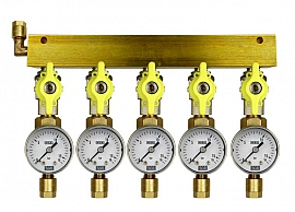 Manifold 5 pipes, shut-off valves, gauge till 16bar, CF8/6